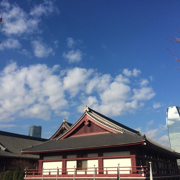 東京タワーと増上寺2の写真
