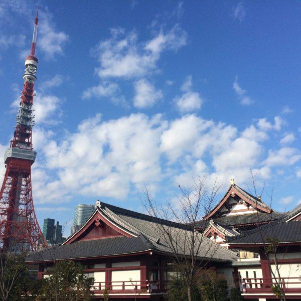 東京タワーと増上寺1の写真