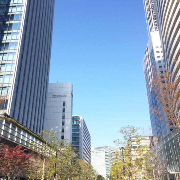 みなとみらいのプロムナード沿いの高層ビル群の写真