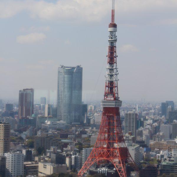 展望台から見た東京タワーと六本木ヒルズの写真
