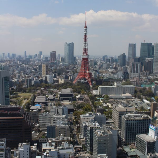 展望台から見た東京タワーと六本木の高層ビル街の写真