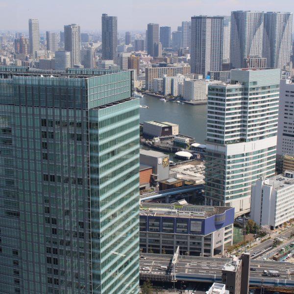 展望台から見た浜松町・竹芝の高層ビルの写真