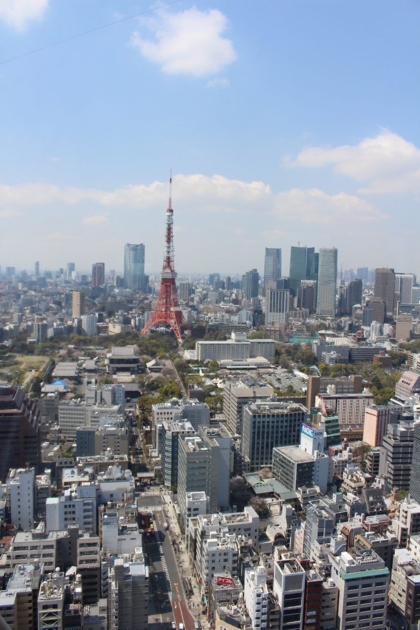 展望台から見た東京タワーと港区の街並みの写真