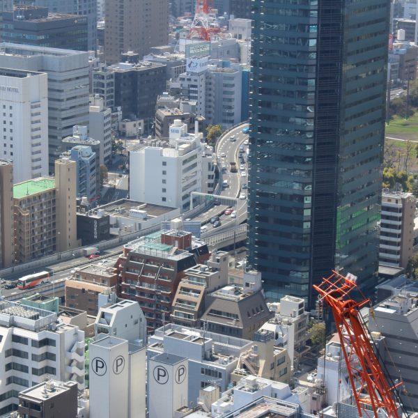 展望台から見た都心を這う首都高速の写真