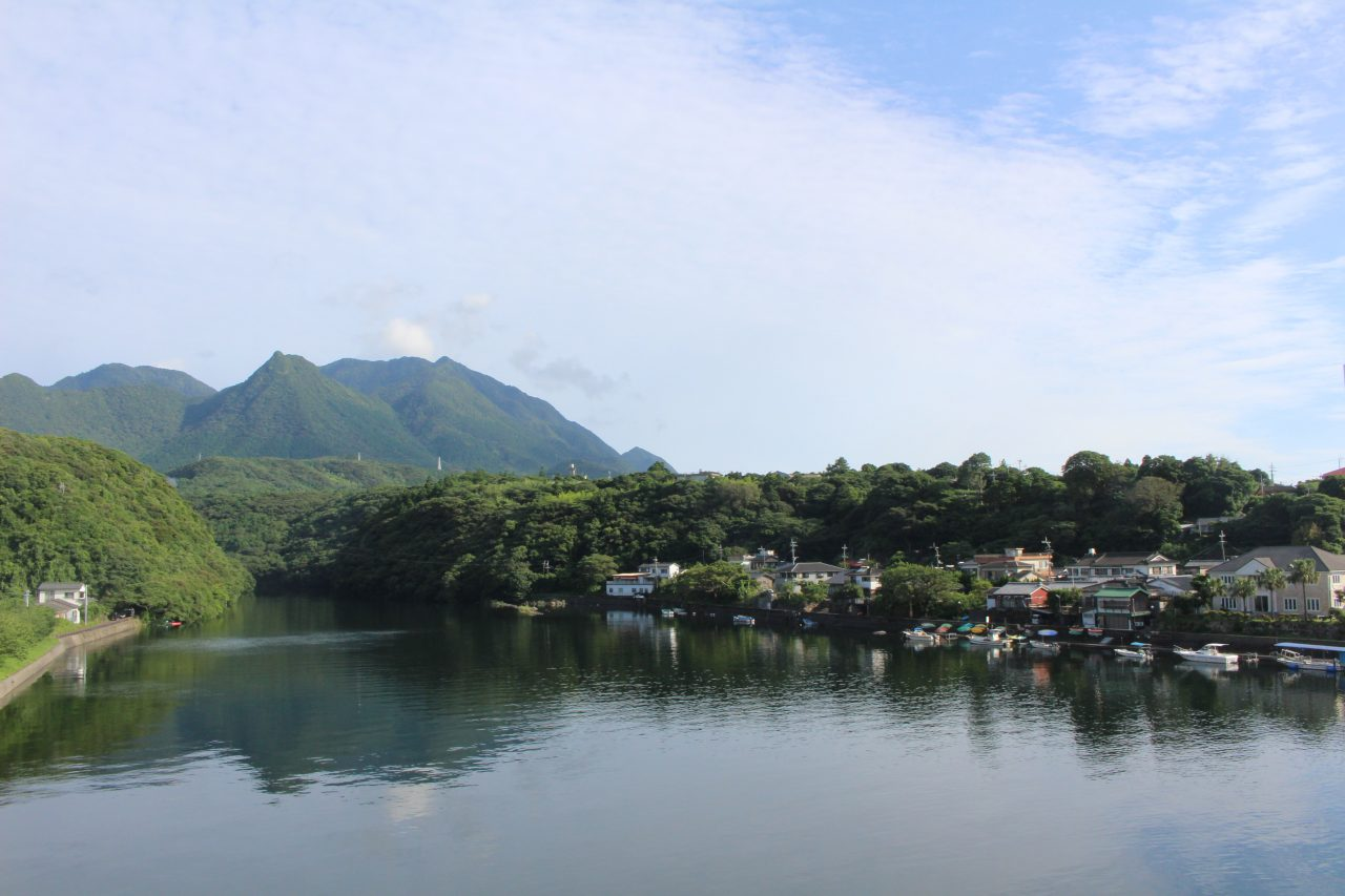 屋久島の山と安房の街並み2の写真